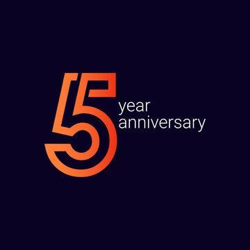 5 Year Anniversary Celebration Vector Template Design Illustration