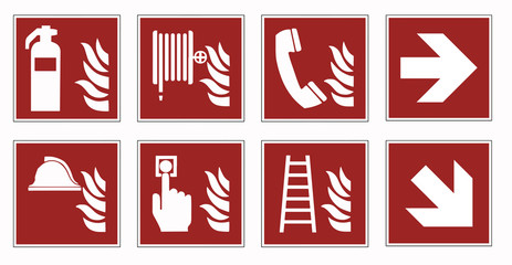 fire protection signs - emergency pictogram  set -