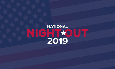 National Night Out. Community-police awareness-raising campaign in the United States. Celebrated annual in August. Partnership event. Poster, greeting card, banner and background. Vector illustration