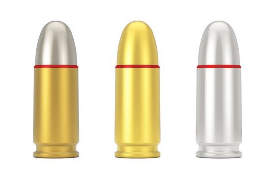 9 mm Metal Golden and Silver Gun Bullets. 3d Rendering