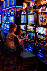 Foto op Canvas Las Vegas girl in a casino in Las Vegas, .the woman plays for the slot machine