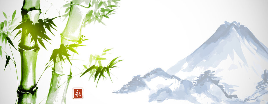 Green bamboo and far blue mountains on white background.Traditional Japanese ink wash painting sumi-e. Hieroglyph - eternity.