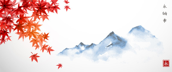 Red japanese maple leaves and far blue mountains. Traditional Japanese ink wash painting sumi-e. Hiieroglyphs - eternity, freedom, happiness