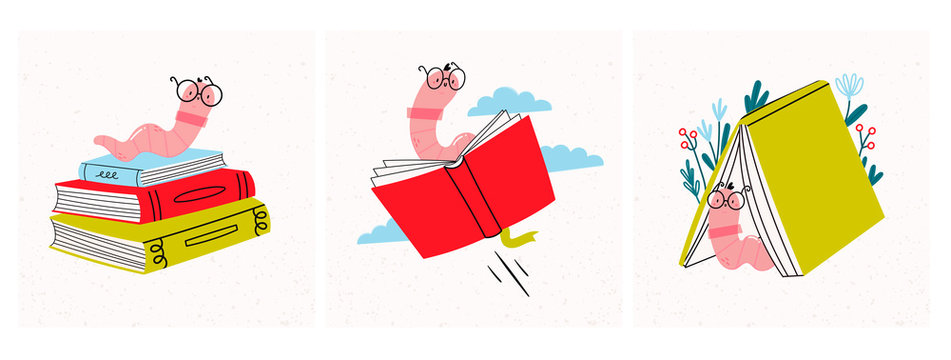 Read more books. Set of various books and stack of books with book worm in glasses. Hand drawn educational vector illustrations. Flat design. Cartoon style