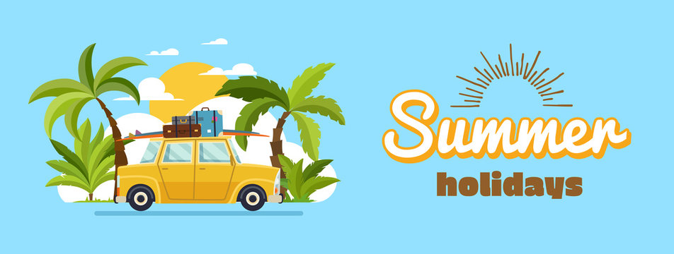 Happy family driving in car on weekend holiday, summer holidays, planning summer vacations, travel by car, summer holiday, Tourism and vacation theme. Flat design vector illustration.