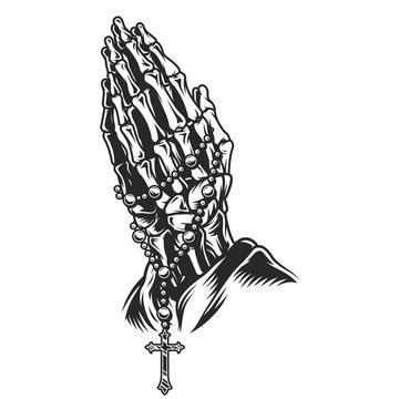 Vintage skeleton praying hands concept