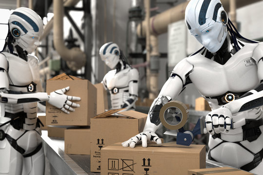 3D Illustration Roboter als Arbeitskraft in der Logistik
