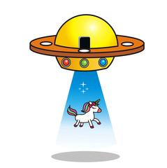 UFO takes unicorn. Aliens kidnap unicorn. Vector Image
