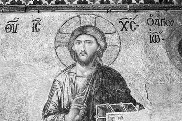 Byzantine ancient mosaic with Jesus Christ illustration - black and white photo