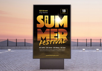 Summer Festival Poster with Beach Photo