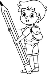 Black and white school boy at work with her giant pencil. Vector illustration.