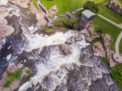 Aerial straight down view of the falls at Sioux Falls, South Dakota and the Queen Bee Mill.