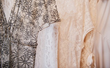 Lace dresses on display