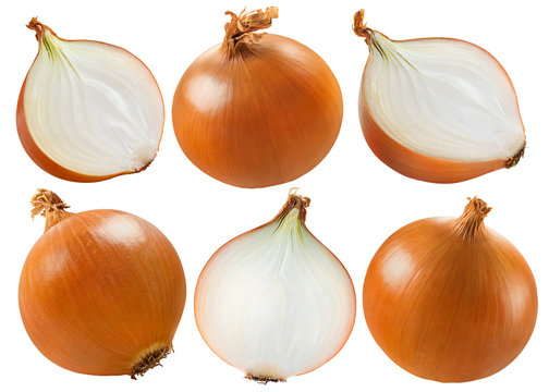 Yellow onion set isolated on white background, package design elements with clipping path