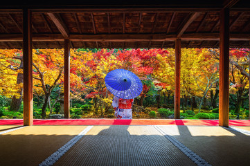 Wall Mural - Asian woman wearing japanese traditional kimono in autumn at Enkoji temple, Kyoto, Japan.