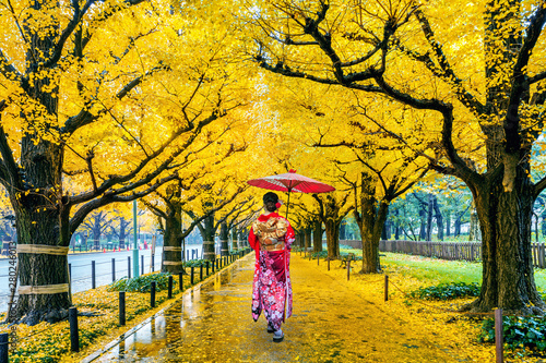 Wall mural Asian woman wearing japanese traditional kimono at row of yellow ginkgo tree in autumn. Autumn park in Tokyo, Japan.