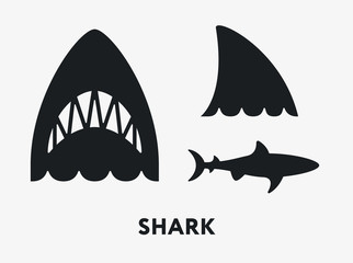 Shark Fish Jaws Tail. Flat Vector Icon Set.