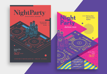 Night Party Flyer Layout with Turntable Illustration