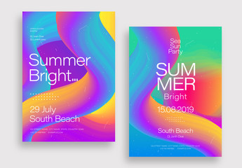 Flyer Layout with Bright Gradient 3D Elements