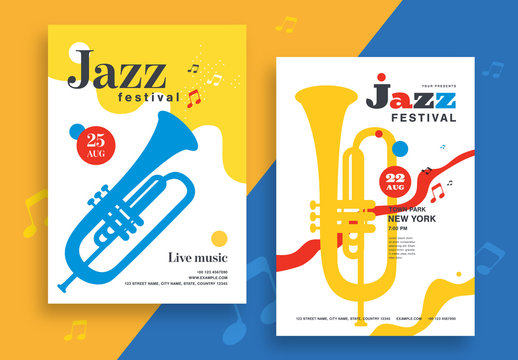 Jazz Festival Flyer Layout with Instrument Illustrations