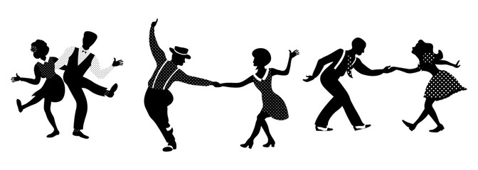 Horizontal composition of three couples set. People in 1940s or 1950s style dancing lindy hop or boogie woogie. Vector illustration in black and white colors.