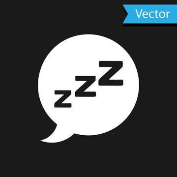 White Speech bubble with snoring icon isolated on black background. Concept of sleeping, insomnia, alarm clock app, deep sleep, awakening. Vector Illustration