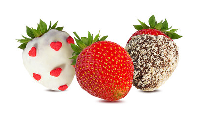 Fototapete - strawberry and strawberry in chocolate isolated on the white background