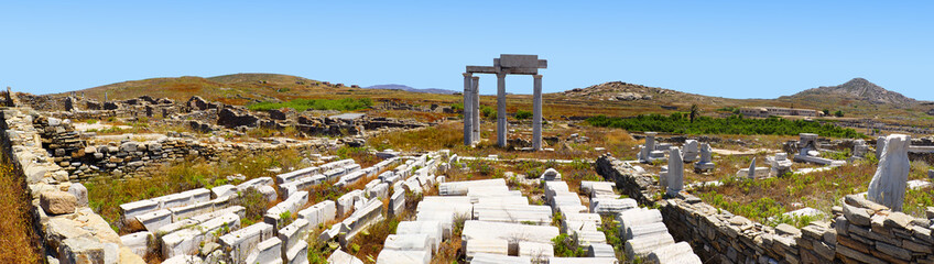 Superb panoramic view of the Temple of Apollo on the island of Delos, near Mykonos, beautiful Cycladic island in the heart of the Aegean Sea