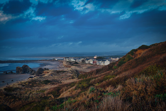 The little town of Bandon at the oregon coast, view through dunes