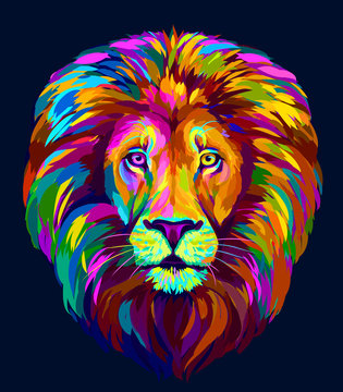 Lion. Abstract, multi-colored portrait of a lion's head on a blue background in pop-art style.