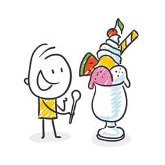 Strichfiguren / Strichmännchen: Eis, Icecream. (Nr. 435)