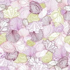 Vector purple repeat pattern with variety of overlaping seashells. Romantic pink theme. Perfect for fabric, scrapbooking, wallpaper projects.