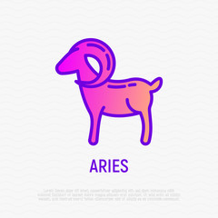 Aries thin line icon. Modern vector illustration of astrological sign for horoscope.