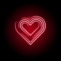 Heart icon in red neon style. Set of hearts illustration icons. Signs, symbols can be used for web, logo, mobile app, UI, UX