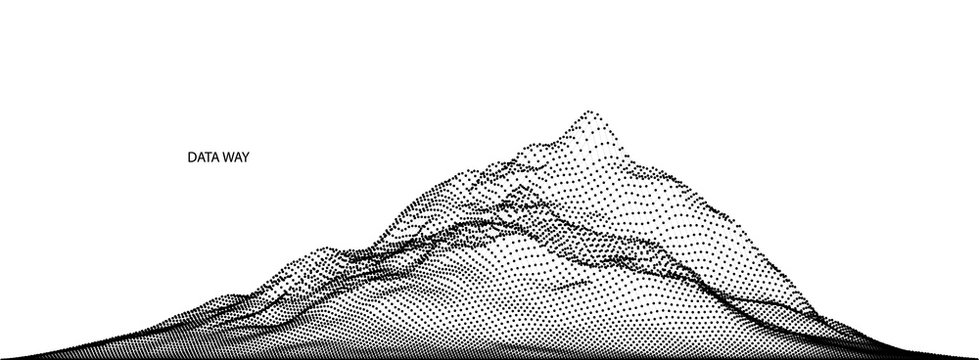 Vector abstract composition made of particles and wireframe. Concept design of digital landscape, data array, signal