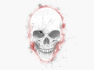 Tuinposter Aquarel schedel Minimalistic drawing of a skull with red water color outlines