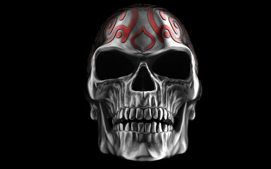 Heavy metal angry skull with red tribal paint