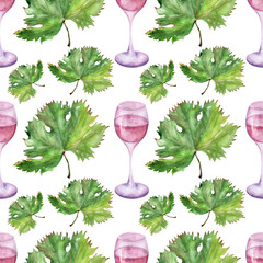 Watercolor background picture Wine and ripe grapes