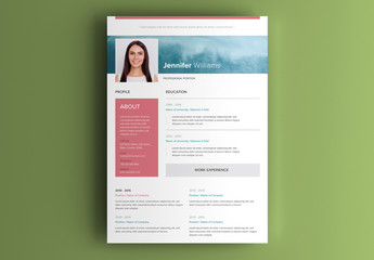 Resume Layout with Image of Blue Sky