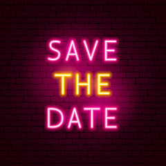 Save the Date Neon Text