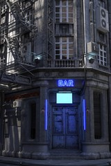 Photorealistic 3d illustration of the futuristic city. Wallpaper in the style of cyberpunk. Bar with closed doors and a luminous neon sign. Grunge cityscape.