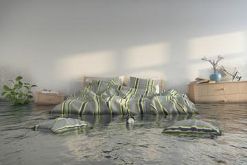 3d Illustation - Überschwemmtes Schlafzimmer - Wasserschaden - Hochwasser - Skandinavisches Schlafzimmer