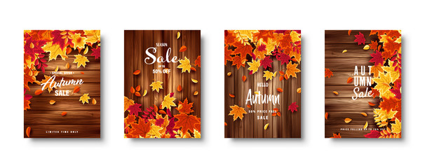 Autumn falling leaves. Banner set. Nature background with red, orange, yellow foliage. Flying leaf. Season sale. Vector illustration.