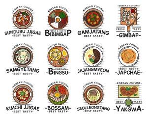 Korean cuisine food, restaurant cafe menu dishes