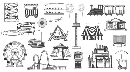 Attractions in park, water slide ferris wheel icon
