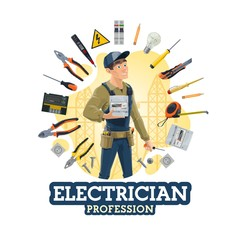 Electrical service worker and electrician tools