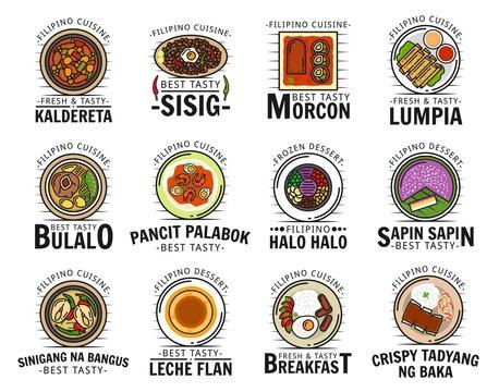 Kaldereta sisig food Filipino cuisine menu logo