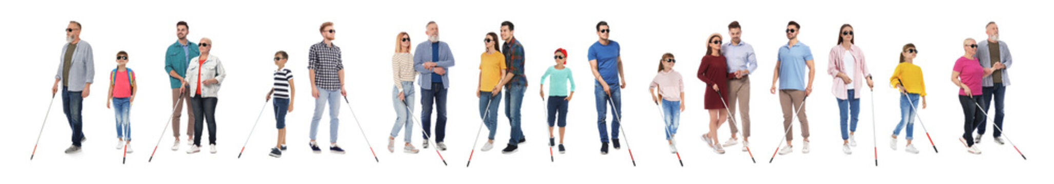 Set of blind people with long canes on white background