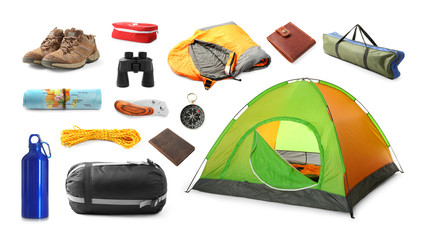 Wall Murals Camping Set with different camping equipment on white background