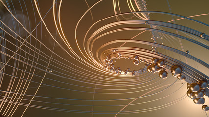 Abstract 3d rendering gold jewelry with shiny shapes beads on a dark background